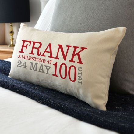 Personalised 100th Birthday Rectangular Cushion